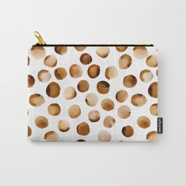 Watercolor Dots // Russet Brown Carry-All Pouch