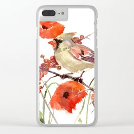 Cardinal Bird and Poppies, Poppy Flowers Clear iPhone Case