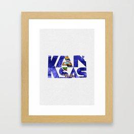 Kansas Typographic Flag Map Art Framed Art Print
