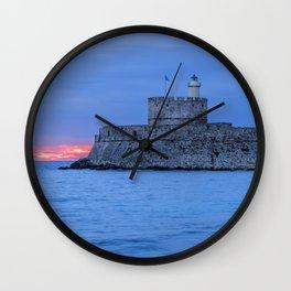 Mandraki harbour of Rhodes Greece Wall Clock