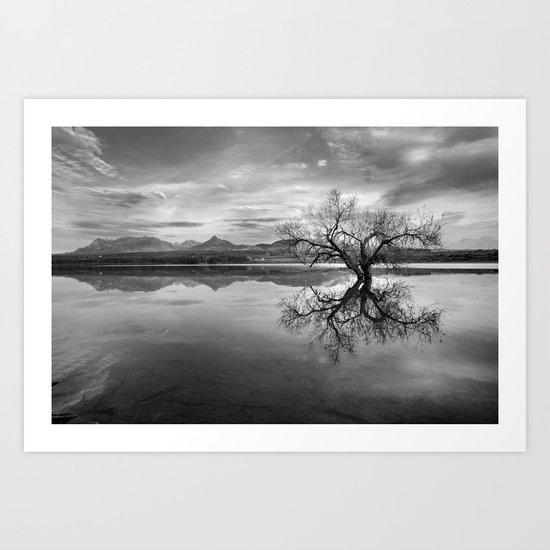 """Magic tree"" BW. Sunset at the lake Art Print"