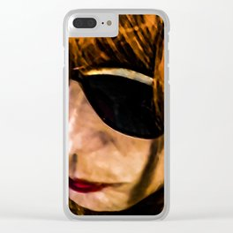 Adult Woman with Glasses Portrait Illustration Clear iPhone Case