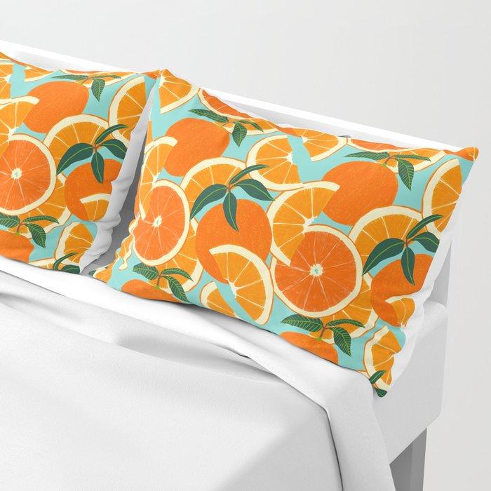 Orange Harvest - Blue Pillow Sham