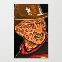 freddy krueger Canvas Prints featuring Freddy Krueger by Art of Fernie