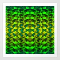 green pattern Art Prints featuring Green pattern. by Assiyam