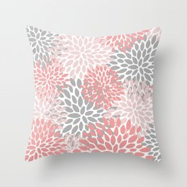 Floral Pattern, Coral Pink and Gray Throw Pillow