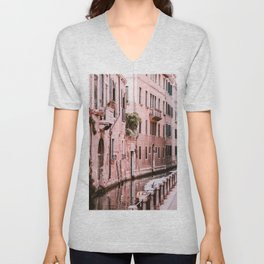 Venice pink canal with old buildings travel photography Unisex V-Neck