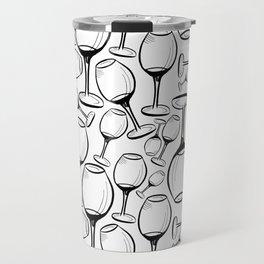 Print with wine glasses. Drawn wine glasses, sketch style. Black on white Travel Mug