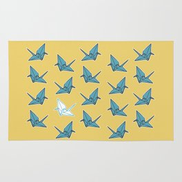 PAPER CRANES BABY BLUE AND YELLOW Rug