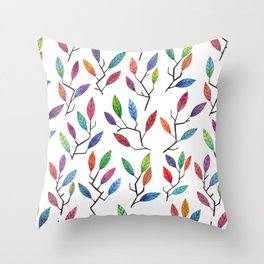 Leafy Twigs - Multicolored Throw Pillow