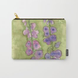 Hollyhock Foxglove Watercolor Muted Tones Carry-All Pouch