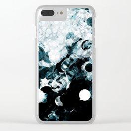 Modern Splash of Turquoise Black White Design Clear iPhone Case