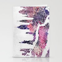 new york map Stationery Cards featuring New York Skyline + Map by Map Map Maps