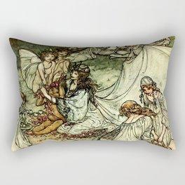 """""""Titania"""" by Arthur Rackham From Shakespeare Rectangular Pillow"""