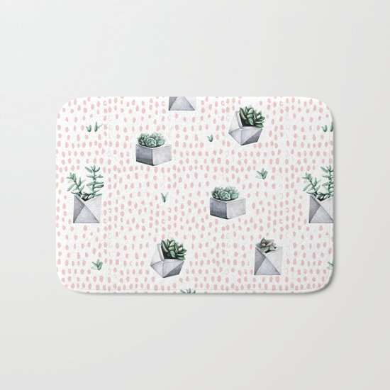 Potted Succulents Pink Polka Dots Bath Mat