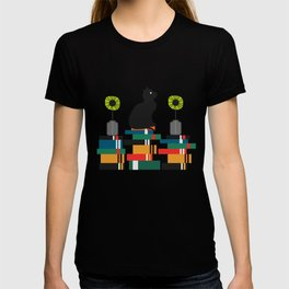 Cat, books and flowers T-shirt