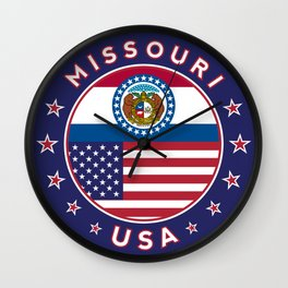 Missouri, USA States, Missouri t-shirt, Missouri sticker, circle Wall Clock