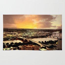 Downtown Portland Oregon Bridge View Rug