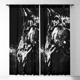 horse splatter watercolor black white Blackout Curtain
