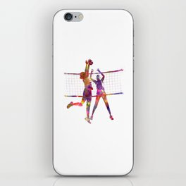 Women volleyball players in watercolor iPhone Skin
