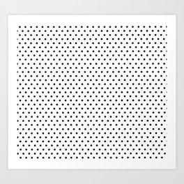 Polka dot white and black Art Print