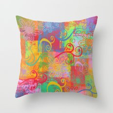 Grunge Swirls, Flowers and textures Throw Pillow