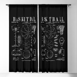 Basketball Old Vintage Patent Drawing Print Blackout Curtain