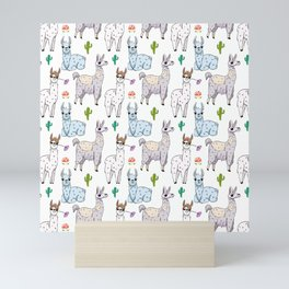 Cute and Whimsical Llama Pattern Mini Art Print