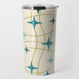 Mid Century Modern Cosmic Star Pattern 693 Cream Turquoise Olive Travel Mug