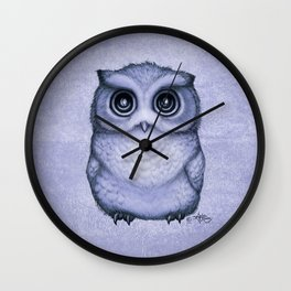 """""""The Little Owl"""" by Amber Marine ~ (Lavender Bud Version) Pencil&Ink Illustration, (Copyright 2016) Wall Clock"""