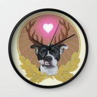 pitbull Wall Clocks featuring Jaggermeister - pitbull by PaperTigress