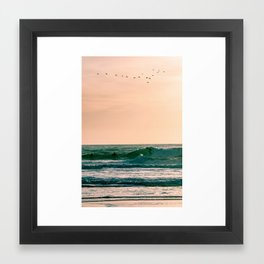 Sunset Surfers Framed Art Print