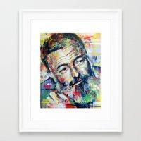 hemingway Framed Art Prints featuring Ernest Hemingway by Marta Zawadzka