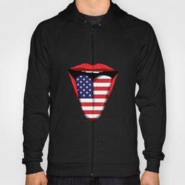 USA Flag Tongue Lips United States Stars Stripes Hoody