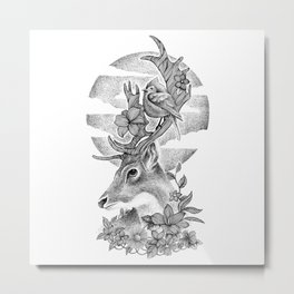 THE DEER AND THE BIRD Metal Print