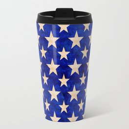 Gold stars on a dark blue background. Travel Mug