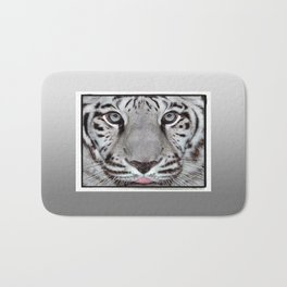 White Tiger with a little tougue Bath Mat