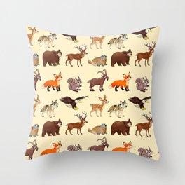 Cartoon mountain animals pattern Throw Pillow