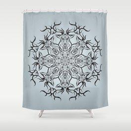 Deer mandala on gray background Shower Curtain
