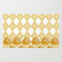 Yellow Peonies & Diamonds Rug