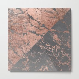 Modern rose gold marble inverted color block grey cement concrete Metal Print