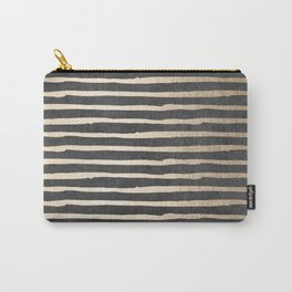 White Gold Sands Thin Stripes on Black Carry-All Pouch
