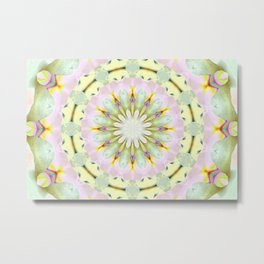 White Dream Orchid Kaleidoscope Neon Metal Print