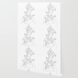 Minimal Line Art Woman with Wild Roses Wallpaper