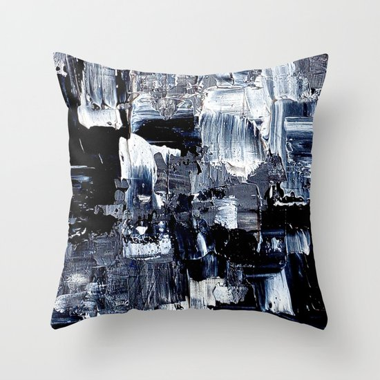 50 Shades... - black & white abstract painting Throw Pillow