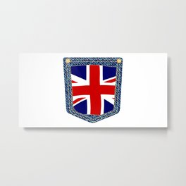 Union Jack Denim Pocket Metal Print