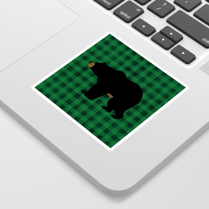 Black Bear - Green Plaid Sticker