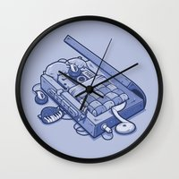 tape Wall Clocks featuring TAPE NAP by Letter_q