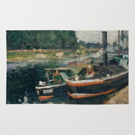 Camille Pissarro - Barges at Pontoise (1876) Rug