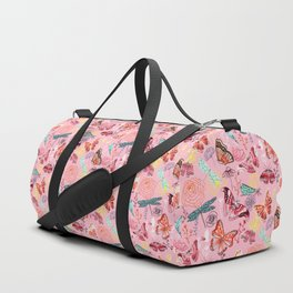 Dragonflies, Butterflies and Moths With Plants on Millennial Pink Duffle Bag